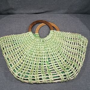 Green Straw Purse